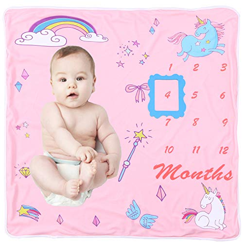 Baby Hooded Monthly Milestone Blanket - Multi-use Hooded Bath Towel for Girls, Double Layers Personalized Newborn Shower Gifts, Infant Poly Fleece Swaddle, Photography Backdrop Included Frame