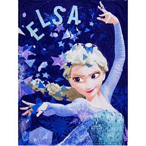 (Disney Frozen Princess Elsa Anna Kids Soft Fleece Blanket 90 X 120 cm (Blue))