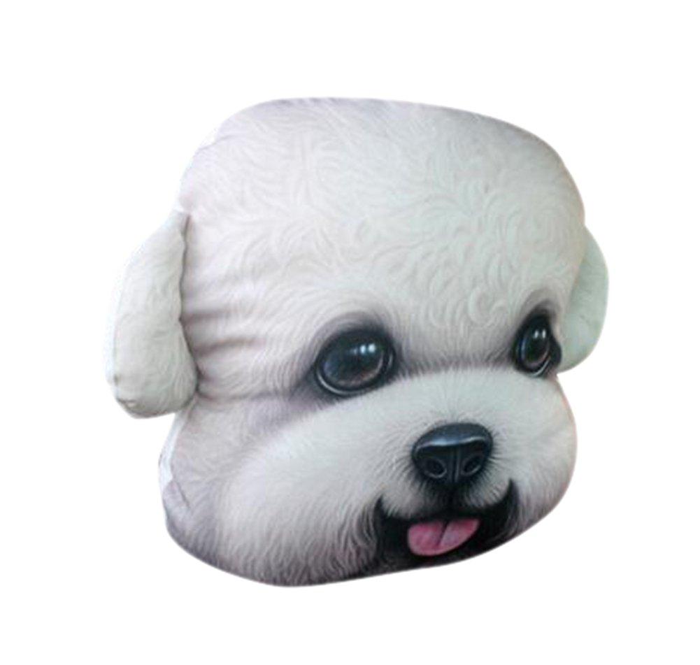 October Elf Car Pillow Head Neck Travel Seat Pillow 3D Animal 12.2X10.6inch (White Teddy)