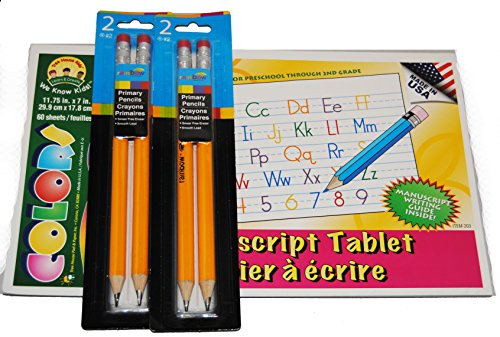 4 Rainbow Preschool Pencils and Manuscript Writing Guide Pad by School Shop
