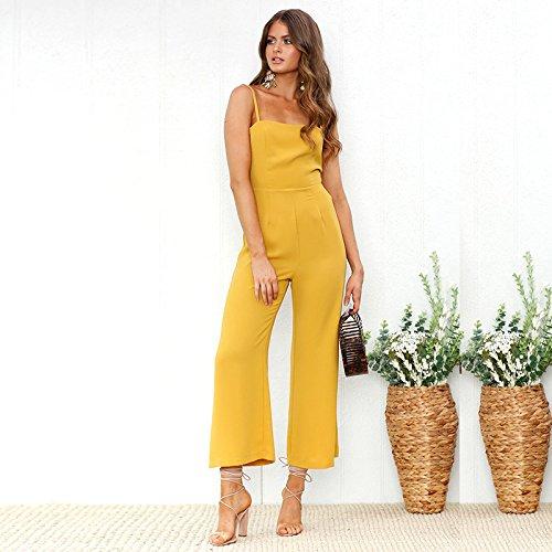de Ancha sin la Correa Tirantes Amarillo Espagueti de de Moda de Cintura Pierna Alta Longwu Rompers Mujeres Pantalones Jumpsuit q7Cpgnwnv