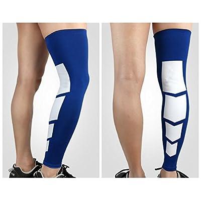 BNASA Adulte genou Chaussettes pour le sport Running attelles jambe chaud respirant genou Chaussettes (L, bleu)