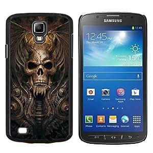 KLONGSHOP // Cubierta de piel con cierre a presión Shell trasero duro de goma Protección Caso - Gótico del cráneo del demonio - Samsung Galaxy S4 Active i9295 //
