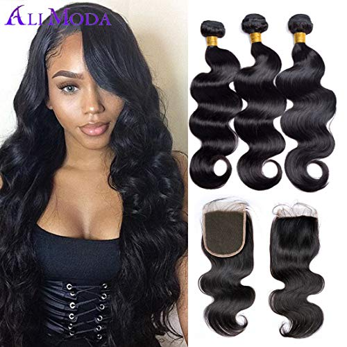 Ali Moda Brazilian Body Wave Bundles with Closure 8A 3 Bundles Body Wave Virgin Human Hair 3 Bundles With Free Part 100% Unprocessed Remy Hair Natural Black Color (16 18 20+14)