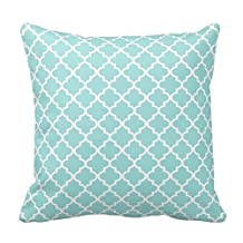 Moroccan Quatrefoil Pattern Pillowcase | Aqua Blue Cotton Pillow Cover Twin Sides 18 x 18