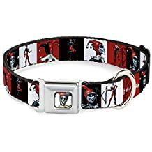 """Buckle-Down DC-WJK004-S Dog Collar Seatbelt Buckle-Harley Quinn with Poses Blocks Red/Black/White, 1""""x9-15"""""""