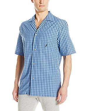 Men's Blue Plaid Cotton Sleep Top