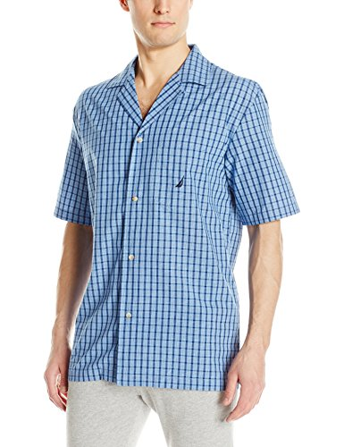 Nautica Men's Short Sleeve Cotton Button Down Woven Pajama Top, Blue, Large