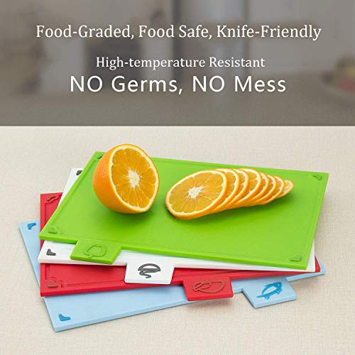 Cutting Board Set, Non-slip Chopping Board with Stand, BPA Free, FDA Approved Reversible Chef Cutting Boards, Color Coded Chopping Board Set, Easy-access Draining Rack for Kitchen by LinLins (Image #2)