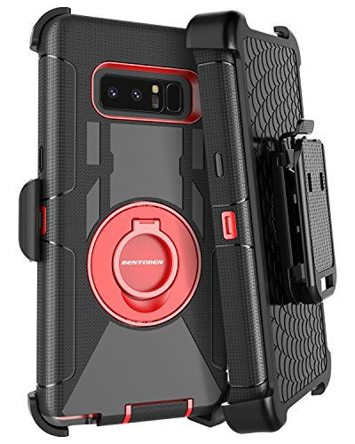 Galaxy Note 8 Case, Note 8 Case Belt Clip, BENTOBEN Heavy Duty Shockproof Kickstand Swivel Belt Clip Full Body Rugged Bumper Hybrid Holster Protective Case for Samsung Galaxy Note 8, Black/Red