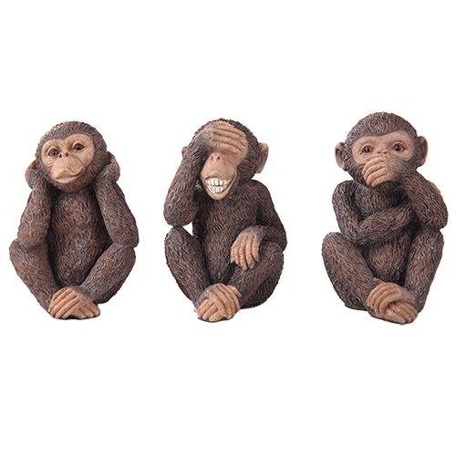 See, Hear, Speak No Evil Monkey Shelf Sitter Computer Top Sitters (Monkey Shelf)