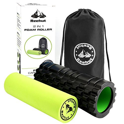Reehut 2 in 1 Foam Roller. Trigger Point massage for Painful, Tight muscles + Smooth Rollers for Rehabilitation! FREE USER E BOOK + FREE CARRY CASE!