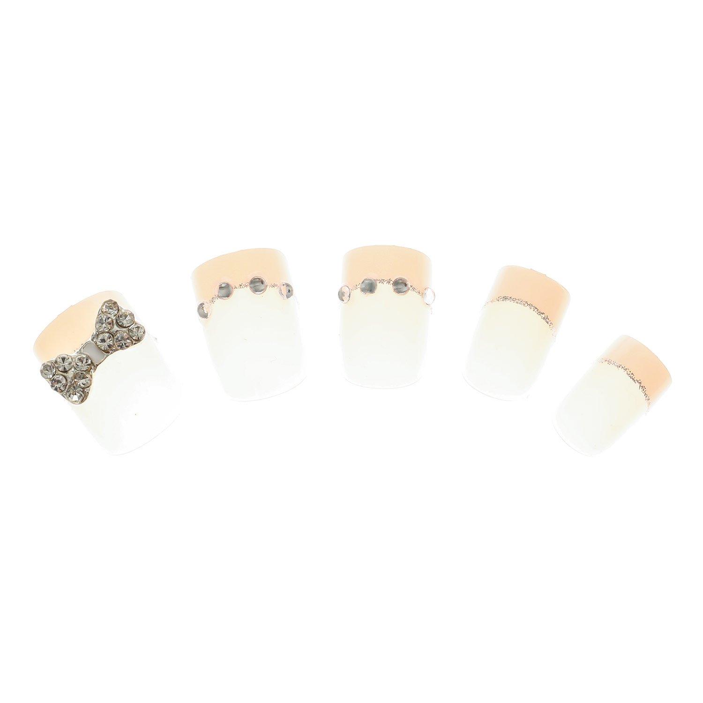 Claires-mujer-Lote De 24 uñas Nodo 3D, diseño De brillantes, color rosa: Amazon.es: Belleza