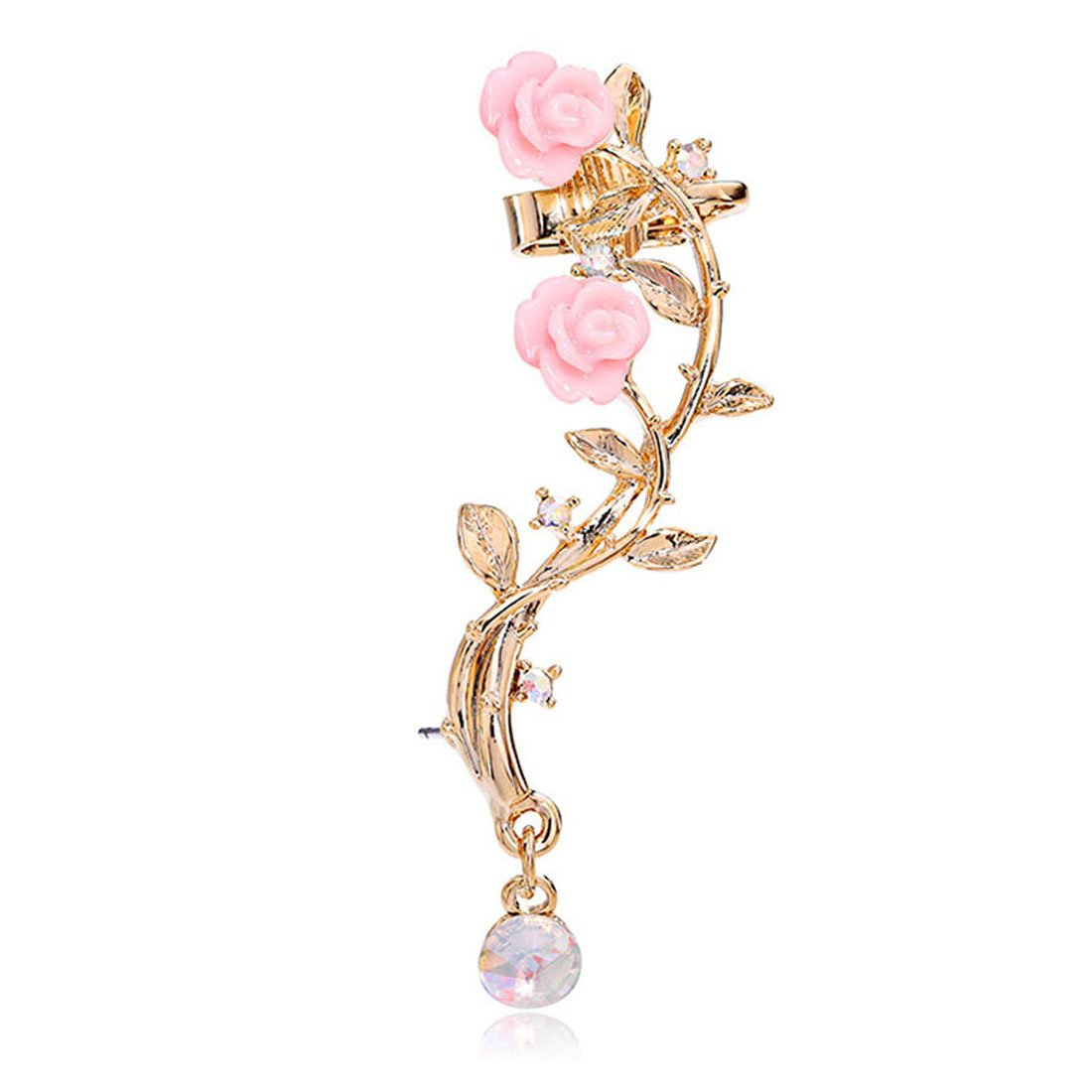 CIShop Pink Rose Zircon Ear cuff Earrings stud Punk Style Ear Wrap(Left ear)