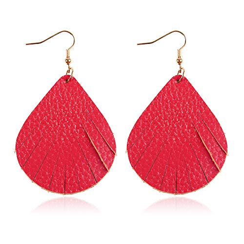 Bohemian Lightweight Genuine Real Leather Geometric Drop Statement Earrings - Petal Leaf, Triple Feather, Teardrop Dangles, Scallop Disc Hoop (Scallop - Hot Pink)