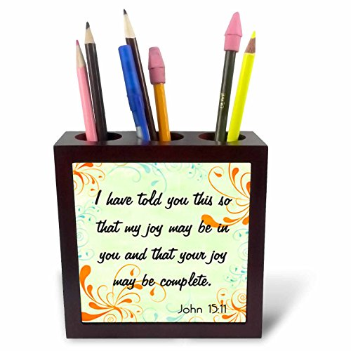 3dRose ph_150071_1 Bible Verse John 15-11 Gradient Swirl Pastel Bible Christian Inspirational Saying Tile Pen Holder, 5-Inch by 3dRose