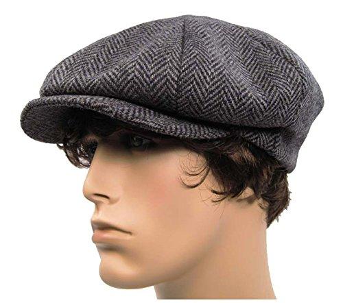 USA Made Unisex 8 Panel Newsboy Tweed Herringbone Wool Hat (Small - 22.25 in. / 57 cm., Gray) (Great Gatsby Daisy Dress)