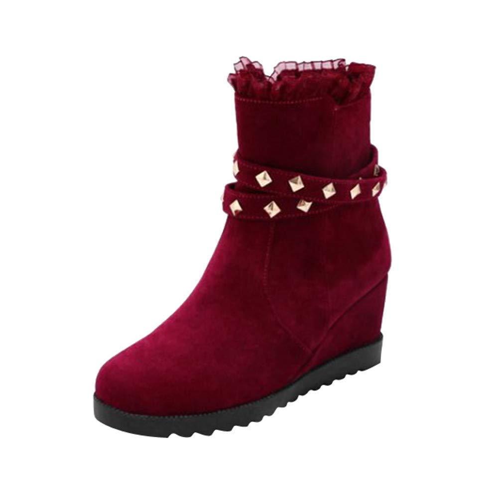ZHRUI Martin Stiefel Damen Schuhe Mode Klassische Dick Sockel Keilabsatz erhöhen Weibliche Spitze Seitenreißverschluss Freizeitschuhe Kurze Stiefel (Farbe   Rot Größe   CN 39=EU 40)