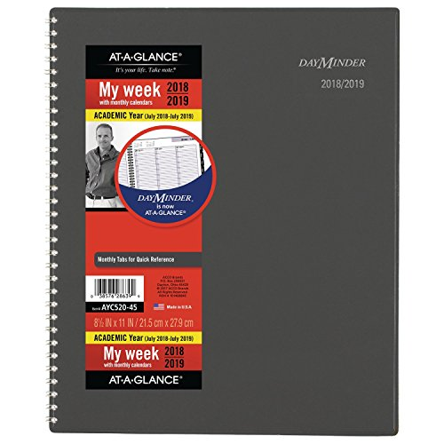 - at-A-Glance 2018-2019 Academic Year Weekly & Monthly Planner/Appointment Book, Large, 8-1/2 x 11, DayMinder, Gray (AYC52045)