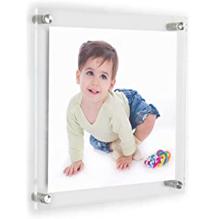 clear acrylic wall mount floating frameless picture frame up to 8x8 photo for art works photography