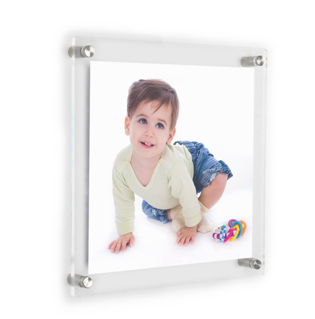 Clear acrylic wall mount floating frameless picture frame up to clear acrylic wall mount floating frameless picture frame up to 8x8 photo for art works photography frames double panelfull frame is 105x105 inch jeuxipadfo Image collections