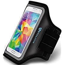 Samsung Galaxy S5 Armband : Stalion® Sports Running & Exercise Gym Sportband (Jet Black)[Lifetime Warranty] Water Resistant + Sweat Proof + Key Holder