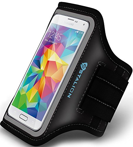 Galaxy S5 Armband: Stalion Sports Running & Exercise Gym Sportband (Jet Black) Water Resistant + Sweat Proof (Samsung Galaxy S5 Active & S5 Sport) (Sport Arm Armband Active)