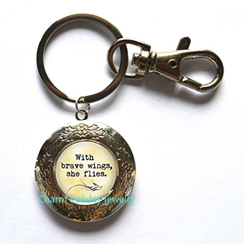 With Brave Wings She Flies Locket Keychain- Inspirational Jewelry - Inspirational - Quote - Angel Wings,Motivational Quote Locket Keychain, Gifts For Sister, Mother's Day Gift Ideas (Mother's Day Art Ideas)