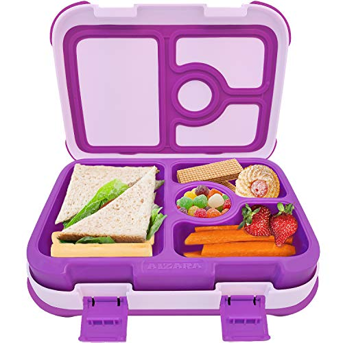 Bento Box for Kids, AIZARA Lunch Box Containers BPA Free Food Storage Container 4 Compartment Leakproof Snack Packing for Travel & to-go Meal Picnic Camping School Boys Girls Children and more(Purple)