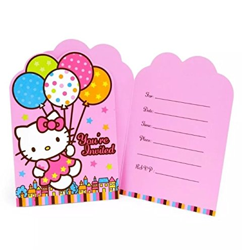 - Hello Kitty by Sanrio Birthday Girl Balloon Party Invitations 16 Count with Save the Date Stickers