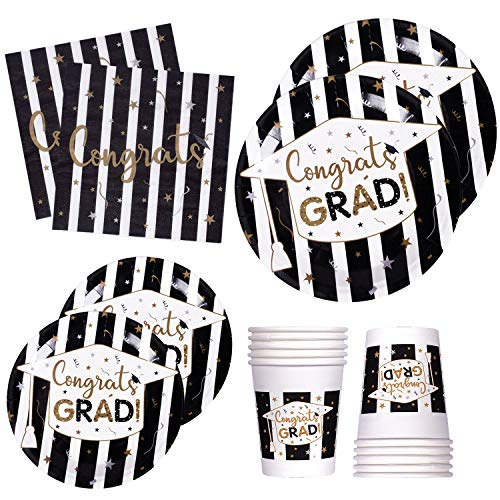 120 PCS Graduation Party Supplies Disposable Dinnerware Set Dinner Paper Plates Napkins Cups Black Gold Decoration, Serves 24]()