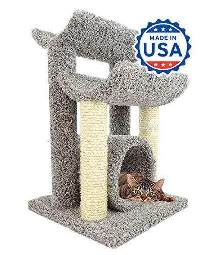 Cradle Cat Furniture - CozyCatFurniture 30 inch Wooden Kitty Tree Hammock | Two Sisal Scratching Poles | Large Cat Cradles & Tunnel | Gray Carpet
