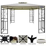 Quictent 10' x 10' Metal Gazebo Patio Gazebo Canopy Waterproof Backyard Shelter (Beige)