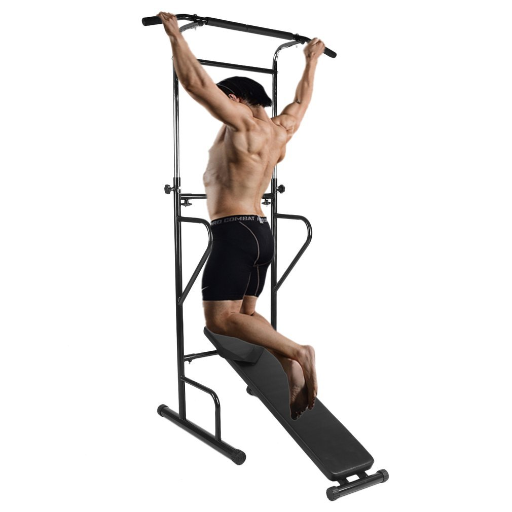 Homgrace Power Tower Workout Dip Station, Adjustable Height Multi-Function Pull Up Bar Tower for Home Gym Strength Training Fitness Workout Station by Homgrace