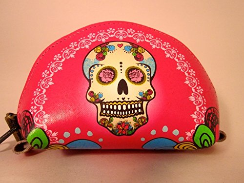 Indigo Desert Ranch - Day of the Dead Coin Purse - Leather Catrina Fuschia