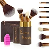 PRO Makeup Brush Set by NAIMA BEAUTY - Includes 8 Professional Rose Gold Makeup Brushes – Luxurious Leather Bag & Vanity Brush Case - Best Quality Brushes for Face and Eye Makeup – Rose Gold