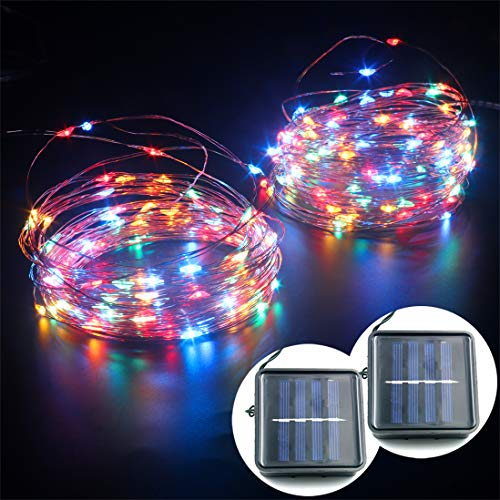 mankinlu Solar String Lights,2 Pack 39 FT 100 LED 8 Modes Outdoor Solar String Lights, Waterproof Copper Wire Solar Powered Fairy String Lights for Patio Garden Gate Yard Wedding Christmas -