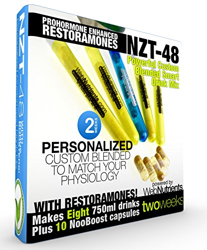Limitless NZT-48 PLUS Restoramones - 8 Drinks+10 Capsules - Powerful, Customized and Personalized Brain-Boosting Nootropic Drink Mix, with Restoramone Prohormone Blend - and BONUS Booster Capsules. by Nootropic Stacks by WebNutrients