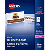 "Avery Perforated Business Cards for Laser Printers,  2"" x 3-1/2"", White, Matte Coated, 250 Pack, Rectangle (5371)"