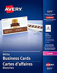 """Avery Perforated Business Cards for Laser Printers,  2"""" x 3-1/2"""", White, Matte Coated, 250 Pack, Rectangle (5371)"""