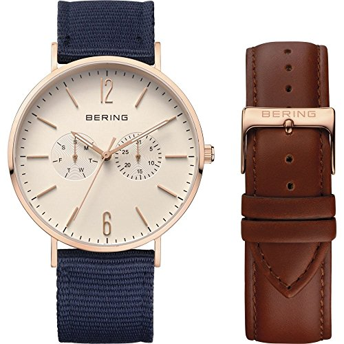 BERING Time 14240-564 Men's Classic Collection Watch with Blue Nylon Band, Rose Gold Tone Stainless Steel and scratch resistant sapphire crystal. Designed in Denmark.
