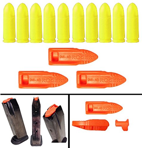 Ultimate Arms Gear 3 Pack of TRT Tap Rack Dry Fire Safety Training Aid 9MM cal Pistol Magazine Dummy Ammo + Pack Of 10 Yellow Inert 9mm 9x19mm Parabellum NATO Luger Trainer Cartridge Ammunition