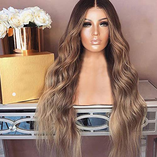 Clearance 27.6'' Fashion Long Wave Synthetic Yellow Wigs for Woman Girls Thanksgiving Day and Daily Party Use Resistant Replacement Wig Natural-Looking with Wig Cap