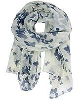 VORCOOL Voile Écharpe Longue Doux Foulard avec Papillon (Bleu + Blanc)