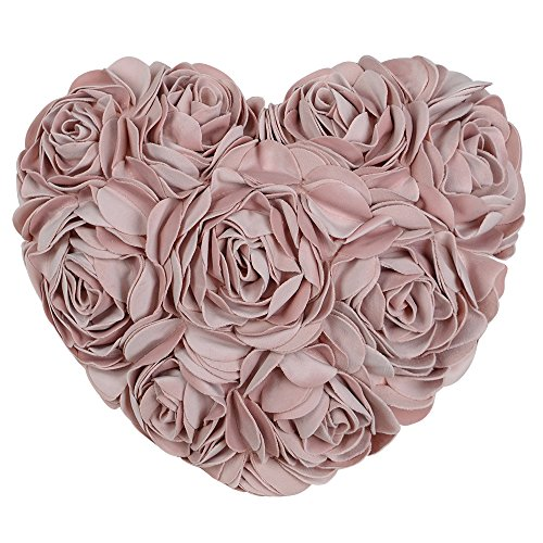 JW 3D Rose Flowers Accent Pillows Decorative Soft Velvet Heart Shaped Handmade Cushions for Home Sofa Bed Room Office Chair Car Wedding Decor Girls Gifts 13 x 16 Inch Rose Gold Art Deco Living Room Chair