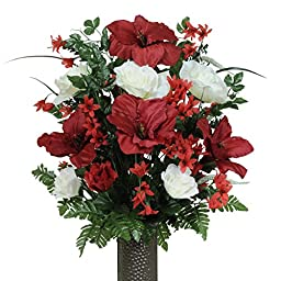 Red Amaryllis Mix Artificial Bouquet, featuring the Stay-In-The-Vase Design(c) Flower Holder (LG1266)