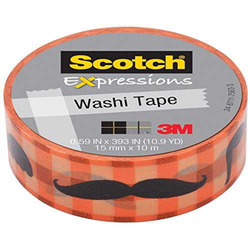 Scotch C314P8 Expressions Washi Tape, .59-Inch x 393-Inch, Moustache (MMMC314P8)