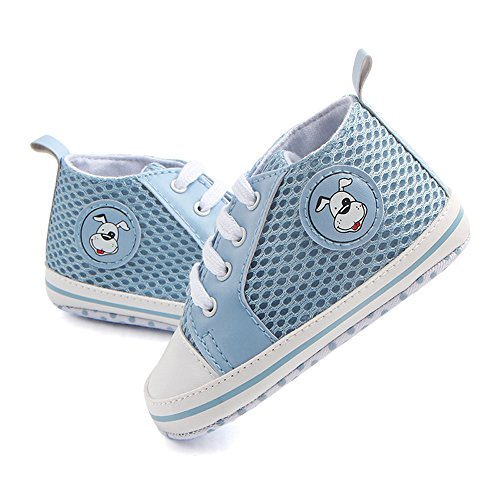 Antheron Infant Shoes - Baby Boys Girls Soft Sole First Walker Toddler Sneakers Anti-Slip Crib Shoes(Light Blue,12-18 Month) (Light Blue Shoe Baby)
