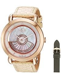 GV2 by Gevril Women's 'Catania' Swiss Quartz Stainless Steel and Leather Casual Watch, Color:Grey (Model: 3604)