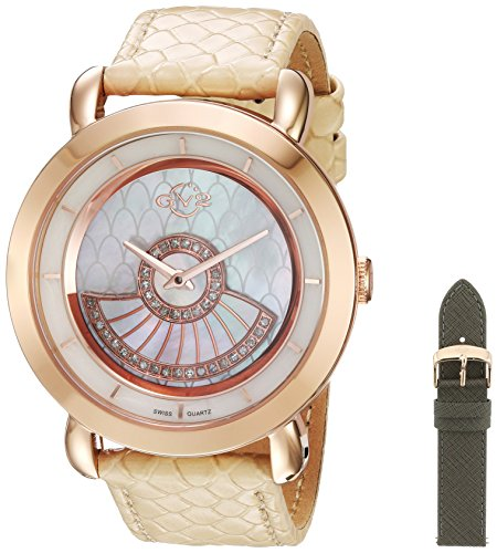 GV2-by-Gevril-Womens-Catania-Swiss-Quartz-Stainless-Steel-and-Leather-Casual-Watch-ColorGrey-Model-3604